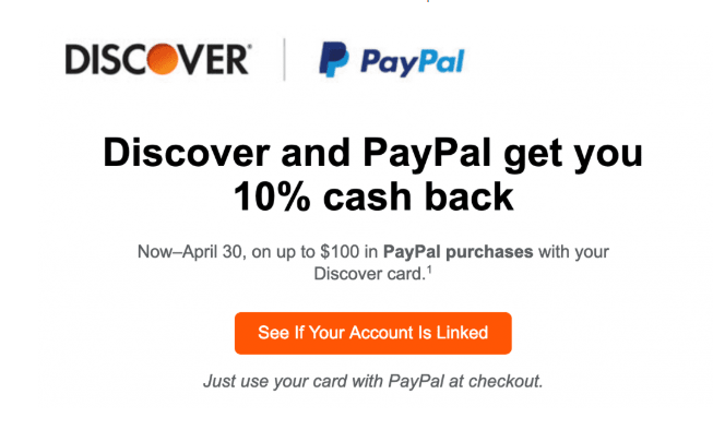Use Discover for PayPal Purchases, Get 10% Cashback (up to $100)